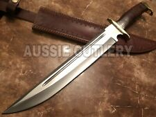 """20"""" AUSSIE CUSTOM HANDMADE D2 BLOOD GROOVED HUNTING TOOTHPICK BOWIE KNIFE"""