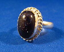 Sparkling Blue Goldstone / Sun Sitara Silver Plated Ring Size 7.25  GOLR19