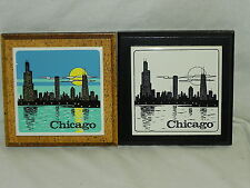 Set Of 2 Chigago Skyline Ceramic Tile Mounted On Wood Wall Plaques