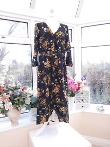 STUNNING *JOE BROWNS* BLACK & MULTI FLORAL BOHO HI LO FAUX WRAP MIDI DRESS Sz 16
