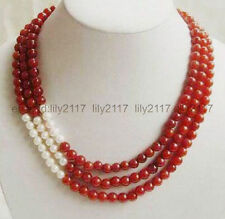 17-19inchSuperb 3 Rows 8mm Red jadeand White freshwater Cultured Pearl Necklace