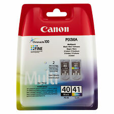 2 ORIGINALI CANON PG40+CL41 PER Canon Pixma IP1300 IP2500 IP1800 MP210 MX300