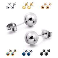 Damen Herren Edelstahl 3-8mm Kugel Ball Ohrstecker Stecker Ohrring - 6 Farben