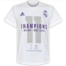 adidas Childrens Kids Real Madrid UCL 2016 Winners T Shirt Tee Top - White 11-12 Years