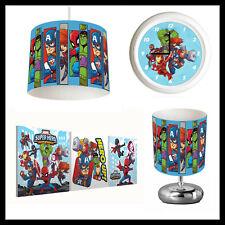 MARVEL SUPER HERO ADVENTURE (513) Kids Bedroom Lampshade, Lamp, Clock & Pictures