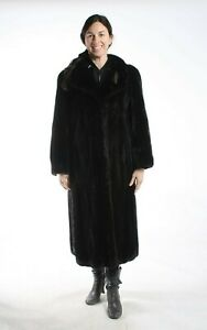 Size XL Wonderful Black Mink Fur Women Full Length Coat [104]