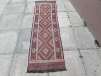 Kilim Old Traditional Hand Made Afghan Oriental Brown Long Kilim Runner 213x63cm