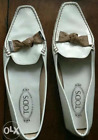 TOD'S WOMEN'S PATENT LEATHER DRIVING LOAFERS-WHITE, Size 39/USA 9