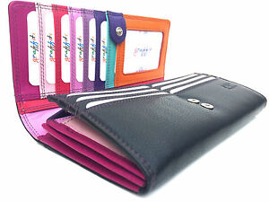 Leather High Quality Ladies Multi Coloured Purse style 7-146 RFID Protected