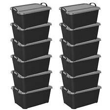 Life Story Black Stackable Closet & Storage Box 55 Quart Containers, (12 Pack)