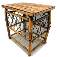 Vintage French Bamboo Cane Rattan Tiki Beach Style Coffee End Table Sturdy