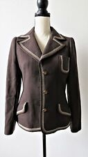 Louis Feraud Womens 100% Pure Wool Blazer Jacket Brown Fully Lined Size 42