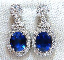 19.00ct Lab Royal Blue Sapphire Diamonds Dangle Earrings 14kt.