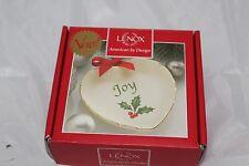 """Lenox Chirstmas Heart Shaped """"Joy"""" Dish Holly Bowl Candy Dish Nib"""