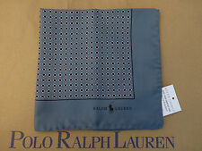 POLO RALPH LAUREN Pocket Square Patterned Italy Made Grey Silk Hankie BNWT RP£75