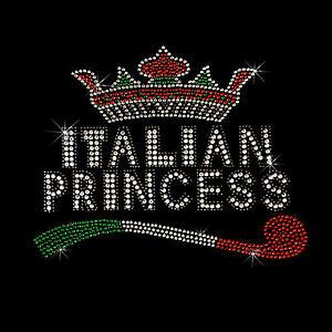 Italie Paillettes Rivets Strass Italie Femmes Fille T-Shirt 7254