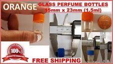 Tiny Small TRAVEL MINI GLASS PERFUME BOTTLES JARS LEAR VIALS 15x23mm ORANGE 1mL