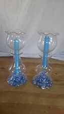 Pair Long Stemmed Candles in Tall Glass Holders with Blue Tint Stones Included