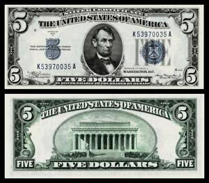1934-A $5 SILVER CERTIFICATE NOTE~CRISP ~GEM UNCIRCULATED