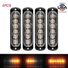 4pcs 6 LED Strobe Lights Emergency Flashing Warning Beacon Amber 12V-24V 6500k