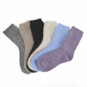 1/6 Pairs Angora  Luxury Warm 100% Wool Cashmere Women Woman Mid Calf Socks