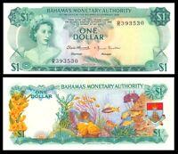 BAHAMAS MONETARY AUTORITHY 1 $ dollar 1968 AU-UNC >  p27 QEII