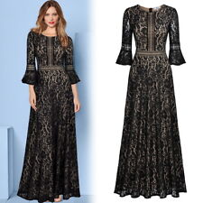 Women's Vintage Floral Lace Trumpet Sleeve Full Lace Contrast Swing Long Dress