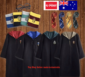 Kid Harry Potter Costume Robe+Glasses Tie Scarf Halloween Party Boy Girl Cloak