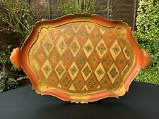 Antique Italian Florentine Wooden Tole Serving Tray Hand Painted Gold Gilt Large
