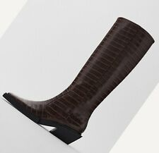 ZARA NEW WOMAN CROC ANIMAL PRINT HEELED KNEE-HIGH BOOTS TRF BROWN 35-42 3005/610
