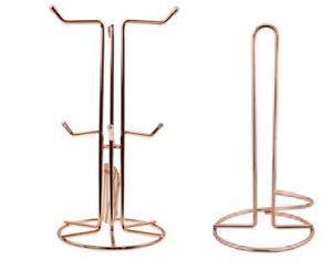 Apollo Copper Finish Wire 6 Mugs Tree Kitchen Towel Roll Holder Stand Home New