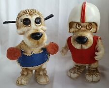 2 Vintage 1977 Creative Manufacture Inc. Football Player & Cheer Dog Coin Banks