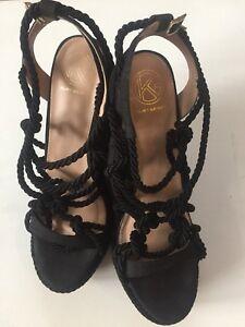 KG by KURT GEIGER BLACK Rope PLATFORM HEELS Shoes Size 41 Wedges
