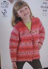 "King Cole knitting pattern leaflet no. 3244 girls jackets size 56-76 cm. 22""-30"""