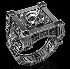 Gothic Vampire Skull Mens Biker Ring oxidized 925 Sterling silver Unique Design