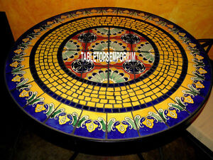 60'' Semi Traditional Marquetry Gems Marble Dining Top Table Inlay Italian Arts