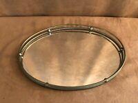 """Vintage Mirrored Vanity Dresser Mirror tray dish brass gold tone 12"""" x 8"""""""