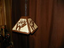 PAIR 2 Laser cut Steel BUGLING ELK Bar Desk Pendant Light Lamp rustic hunt cabin