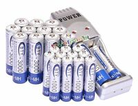 12 AA + 12 AAA 1000mAh 3000mAh 1.2V NI-MH BTY Rechargeable Battery + USB Charger