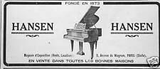PUBLICITÉ PIANO HANSEN AVENUE DE WAGRAM PARIS ÉTOILE
