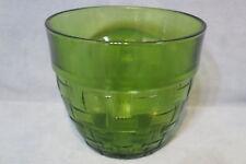 "Vintage Anchor Hocking Ice Bucket Bowl w Basketweave Pattern Green 5 1/4"" T"