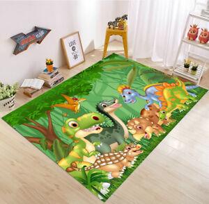 Green Forest Cartoon Dinosaur Yoga Carpet Floor Decor Mat Kids Play Area Rugs