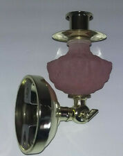 Vtg 2 Way Adaptable Candle Holder Wall Mounted or Straight Pillar w/Pink Glass