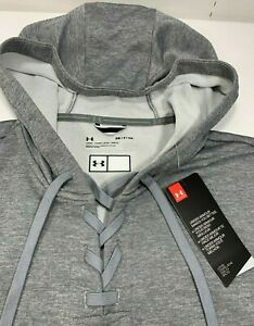 NWT! Under Armour Cross Town Gray Polyester Crop Hoodie Sweatshirt Womens S NEW!