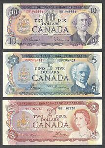 1971 $10.00 1972 $5.00 1974 $2.00 * Multicoloured Canada Two, Five & Ten Dollars