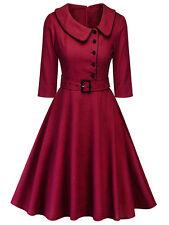 Womens Vintage Peter Pan Collar Plaid Rockabilly Dress 50s Swing Pinup Dress