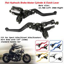 """Paar CNC Alu Motorrad 7/8"""" 22mm Lenker Hydraulische Bremszylinder Kupplungshebel"""