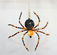 Beaded Spider (Orange & Black) - Ornament / Christmas Tree Decoration
