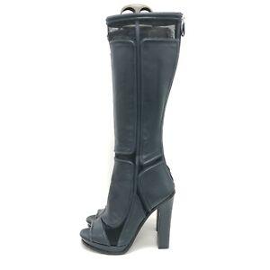 Versace Versus Boots UK 7 EU40 High Heels Open Toe Knee High Navy Leather 251266