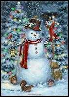 Woodland Snowman - Chart Counted Cross Stitch Pattern Needlework DMC Color